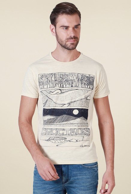 Allen Solly Beige Slim Fit T-Shirt