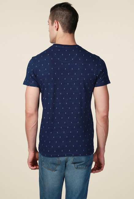 Allen Solly Navy Crew Neck Cotton T-Shirt