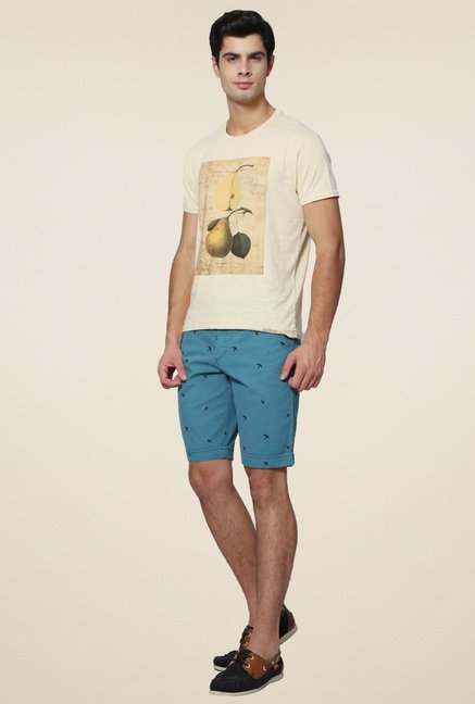 Allen Solly Cream Half Sleeves T-Shirt