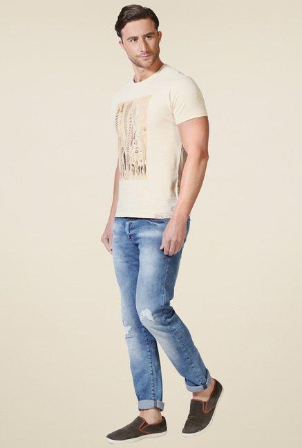 Allen Solly Beige Crew Neck T-Shirt
