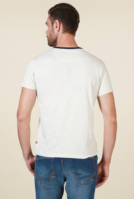 Allen Solly Off-White Cotton Henley T-Shirt