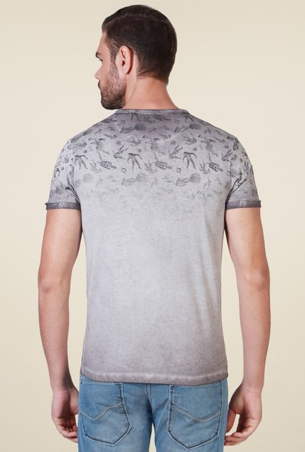 Allen Solly Grey Crew Neck Slim Fit Printed T-Shirt