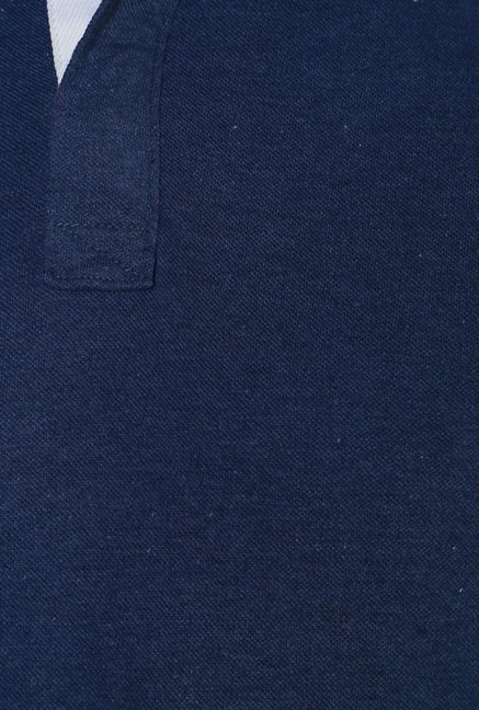Allen Solly Dark Blue Cotton Polo T-Shirt