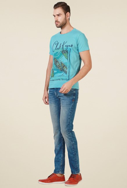 Allen Solly Turquoise Printed Crew Neck T-Shirt