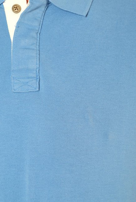 Allen Solly Light Blue Regular Fit Cotton Polo T-Shirt