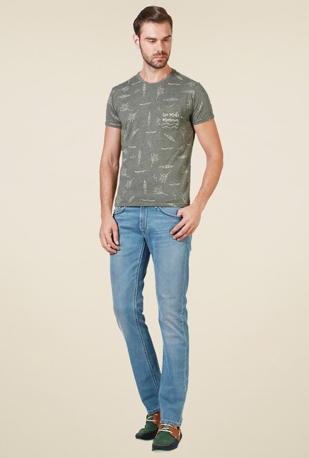 Allen Solly Sage Green Regular Fit T-Shirt