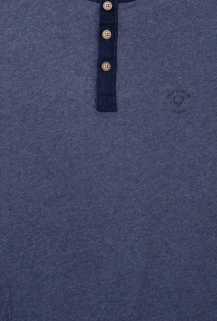 Allen Solly Dark Blue Regular Fit Henley T-Shirt