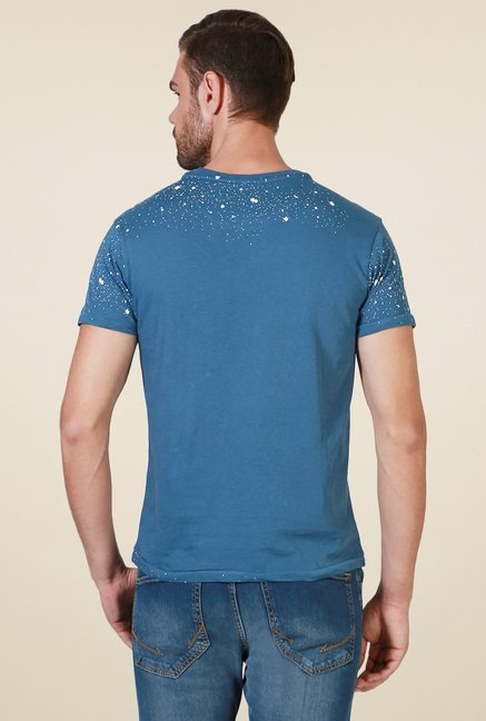 Allen Solly Blue Printed Slim Fit T-Shirt
