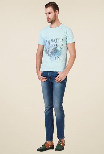 Allen Solly Light Blue Crew Neck T-Shirt