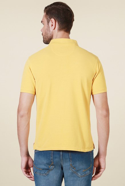 Allen Solly Yellow Regular Fit Cotton Polo T-Shirt
