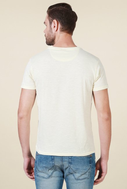 Allen Solly Cream Half Sleeves Cotton T-Shirt
