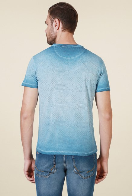 Allen Solly Blue Slim Fit Cotton T-Shirt