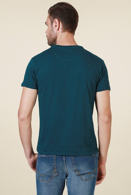 Allen Solly Dark Green Crew Neck Printed T-Shirt