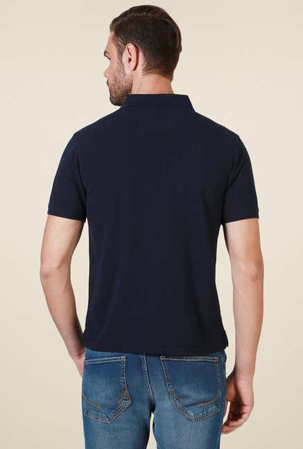 Allen Solly Navy Regular Fit Solid Polo T-Shirt