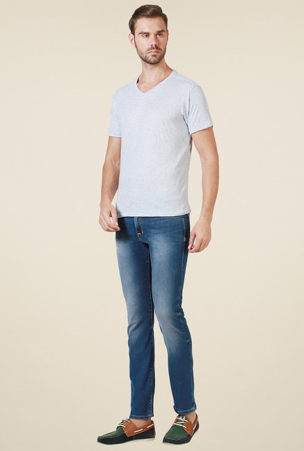 Allen Solly Blue V-Neck Cotton T-Shirt