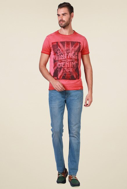 Allen Solly Red Slim Fit T-Shirt