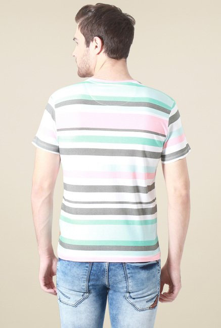 Allen Solly White Striped Crew Neck T-Shirt