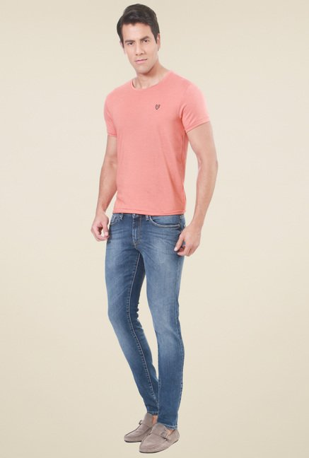 Allen Solly Peach Crew Neck Half Sleeves T-Shirt