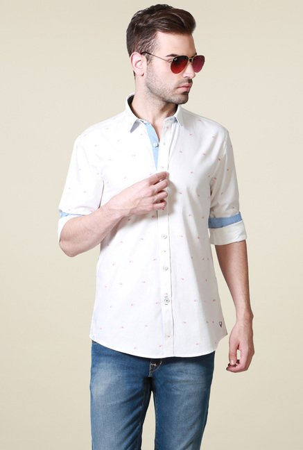 Allen Solly Off-White Full Sleeves Cotton Shirt