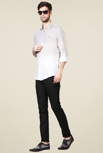 Allen Solly Off-White Slim Fit Shirt