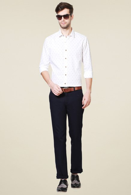 Allen Solly White Slim Fit Printed Shirt