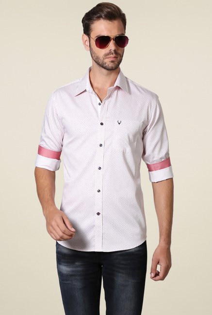 Allen Solly White & Mauve Printed Shirt