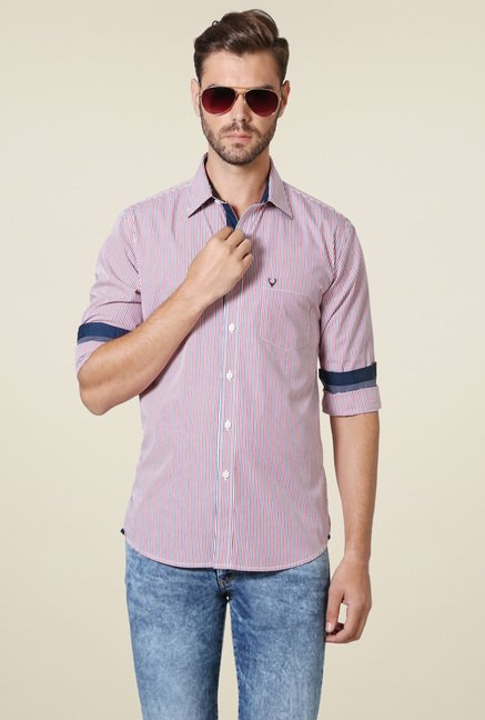 Allen Solly Red Striped Shirt