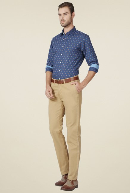 Allen Solly Navy Printed Full Sleeves Shirt