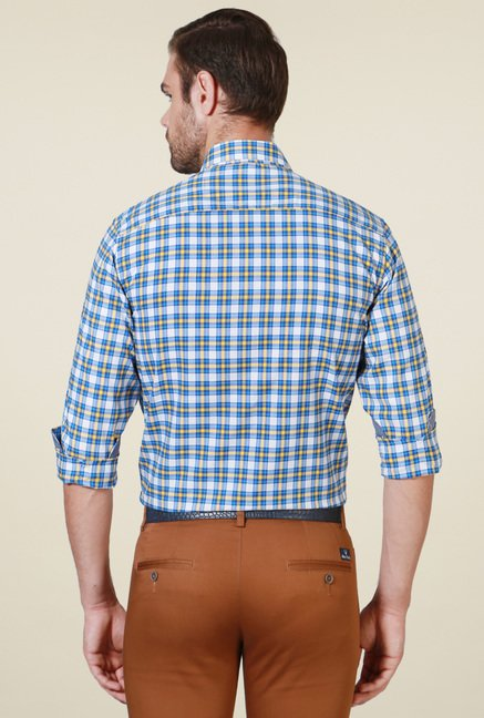 Allen Solly Blue Checks Slim Fit Cotton Shirt