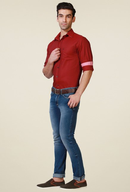Allen Solly Red Self Slim Fit Shirt