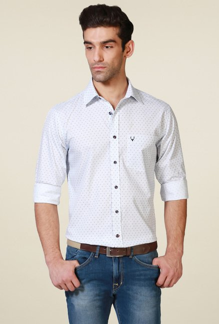 Allen Solly White Cotton Printed Shirt