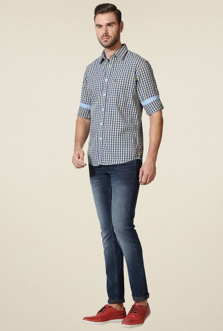 Allen Solly Royal Blue Full Sleeves Checks Shirt