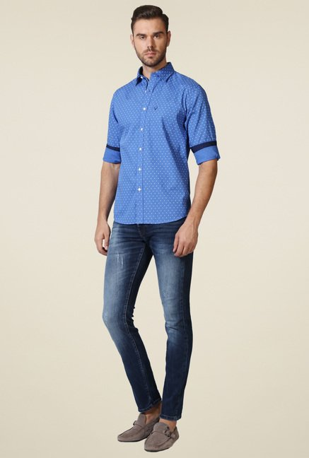 Allen Solly Blue Slim Fit Printed Shirt