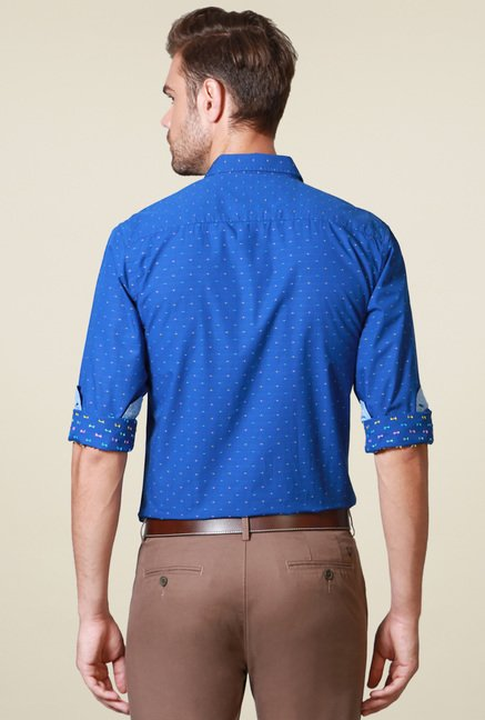 Allen Solly Royal Blue Slim Fit Cotton Shirt