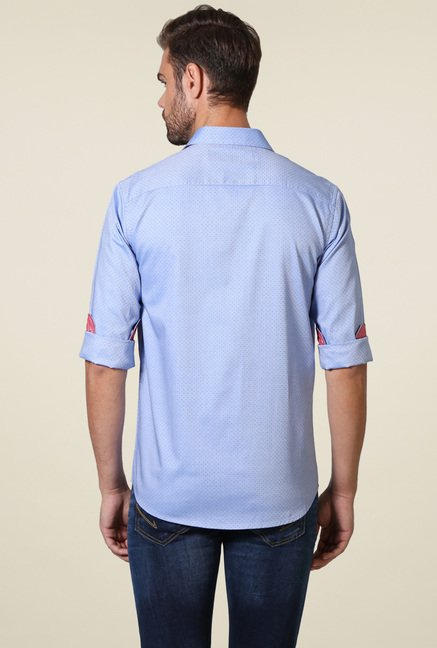 Allen Solly Blue Cotton Slim Fit Shirt