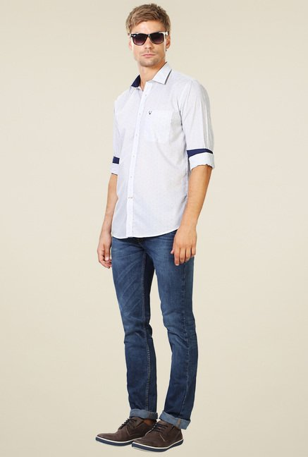 Allen Solly White Striped Cotton Shirt