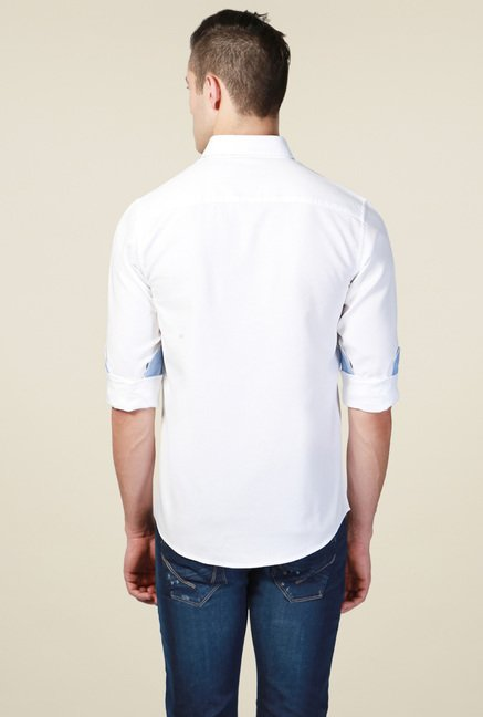 Allen Solly White Self Slim Fit Shirt