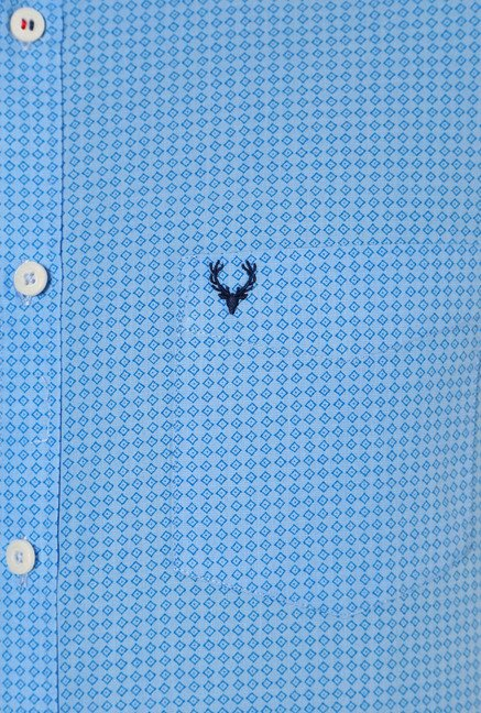 Allen Solly Sky Blue Regular Fit Printed Shirt