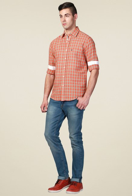 Allen Solly Orange Slim Fit Checks Shirt