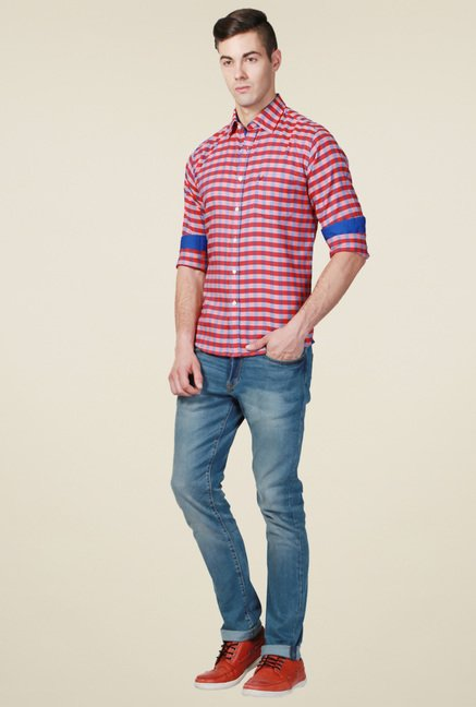 Allen Solly Red Checks Slim Fit Shirt