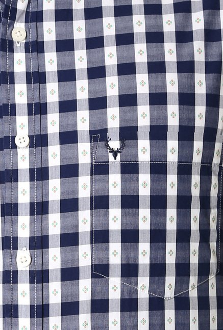 Allen Solly Navy Slim Fit Checks Shirt