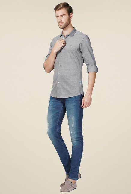 Allen Solly Grey Full Sleeves Cotton Shirt