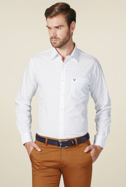 Allen Solly White Full Sleeves Printed Cotton Shirt