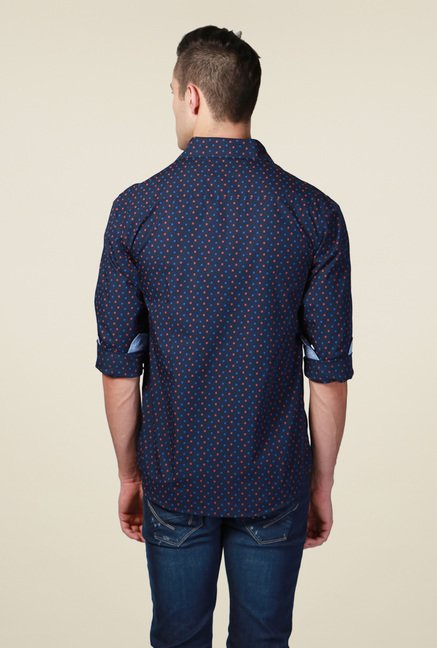 Allen Solly Navy Printed Slim Fit Shirt