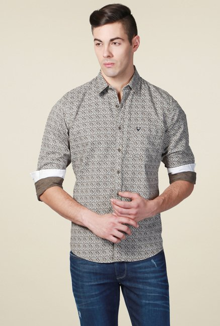 Allen Solly Olive Printed Regular Fit Shirt