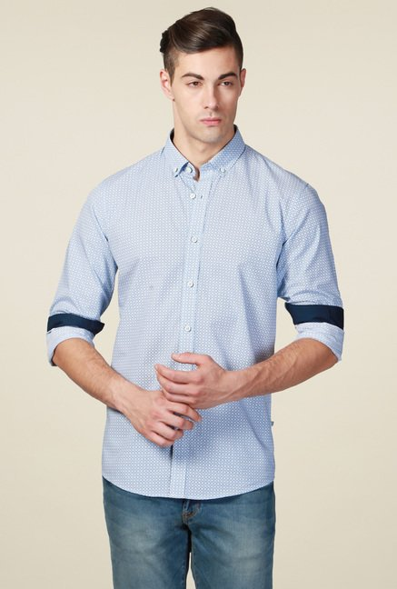 Allen Solly Blue Printed Slim Fit Cotton Shirt