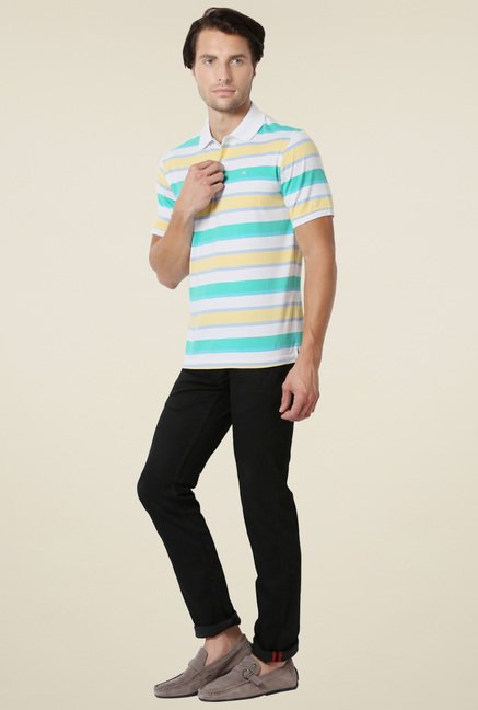 Peter England White & Yellow Polo T-Shirt