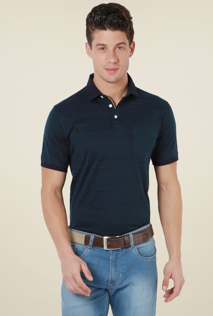 Peter England Space Blue Striped Polo T-Shirt