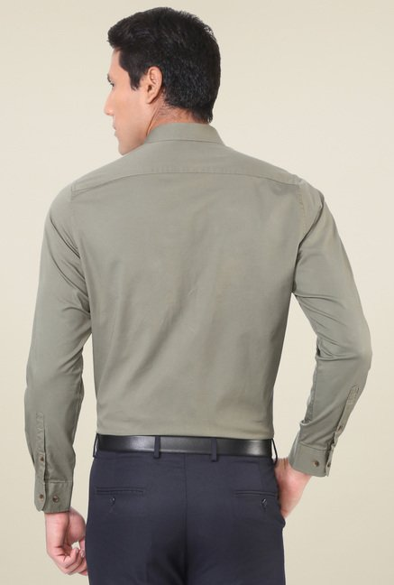 Peter England Sage Green Slim Fit Shirt