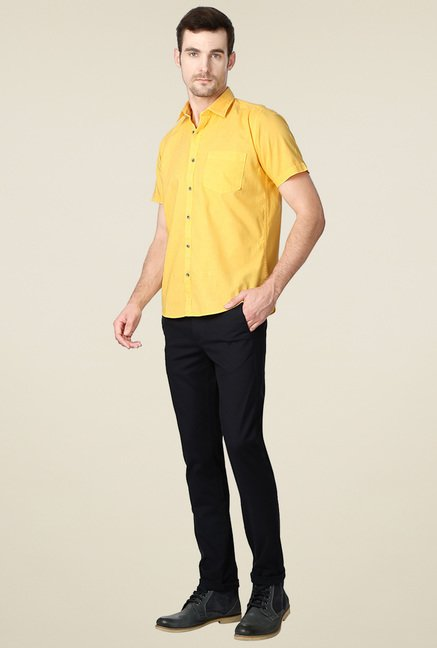 Peter England Yellow Half Sleeves Cotton Shirt